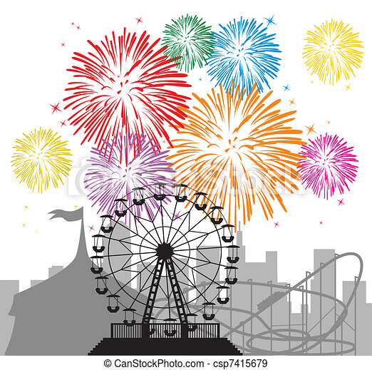 fireworks and silhouettes of a city and amusement park - csp7415679