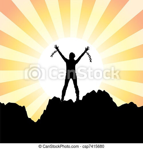 girl with raised hands and broken chains - csp7415680