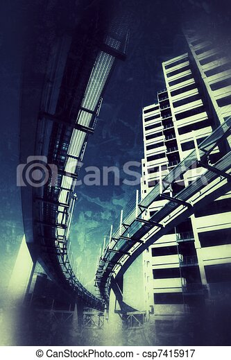 Futuristic grunge city - csp7415917