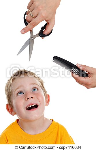 Scared little boy looking up to scissor and comb - csp7416034