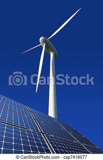 Solar panels and wind turbine - csp7416077