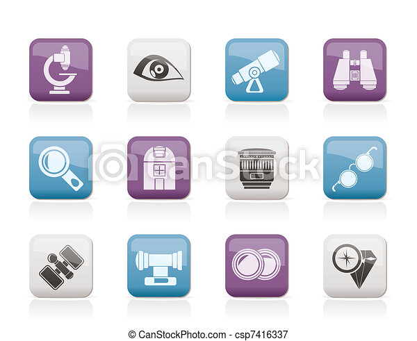 Optic and lens equipment icons  - csp7416337