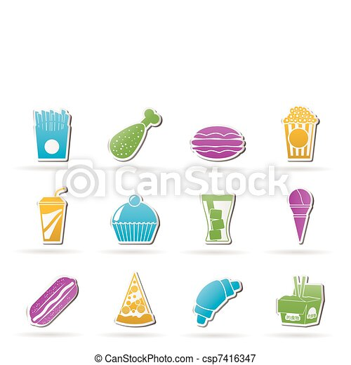 fast food and drink icons - csp7416347