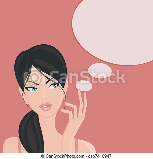 Clipart Vector of thinking girl csp9707885 - Search Clip Art ...