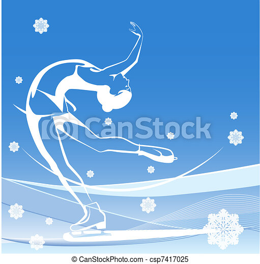 Winter sport. Ladies figure skating.  Ice show. - csp7417025