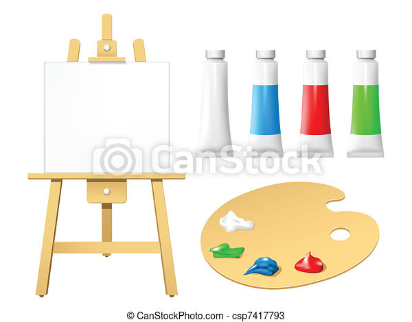 Easel with blank board - csp7417793