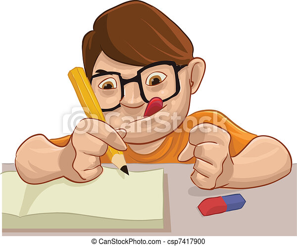 vector clipart of student smart young boy doing his School Clip Art Little Boy Clip Art