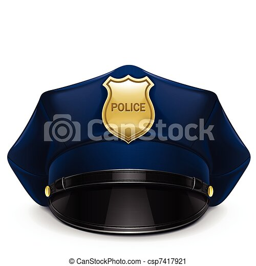police peaked cap with cockade - csp7417921