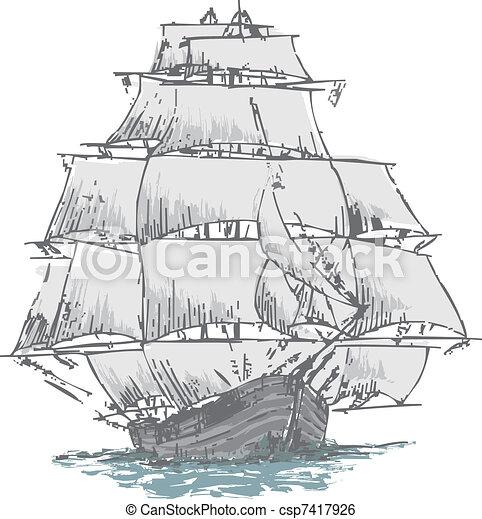 Clip art vecteur de voilier vieux dessiner depuis a nautisme bateau csp7417926 - Voilier dessin ...