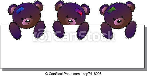 bears holding a placard - csp7418296