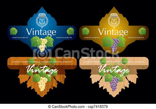 EPS Vectors of Vintage Wine Labels Design Template csp7418379 – Free Wine Label Design