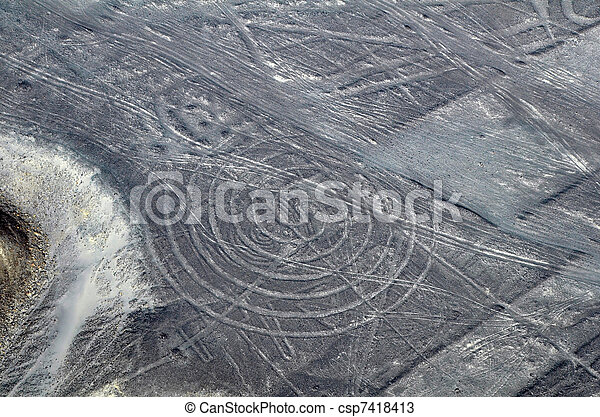 Nazca Lines - Spiral - Aerial View - csp7418413