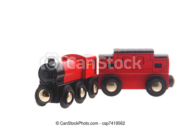 Stock Photo of wooden toy train & carriage - isolated toy train and ...