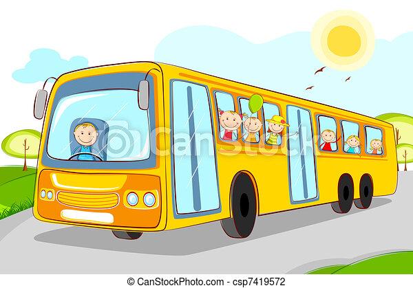 School Bus Drawings Kids in School Bus