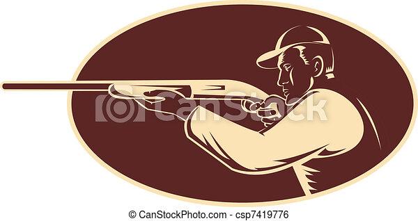 cazador, disparando, Apuntar, escopeta, rifle - csp7419776
