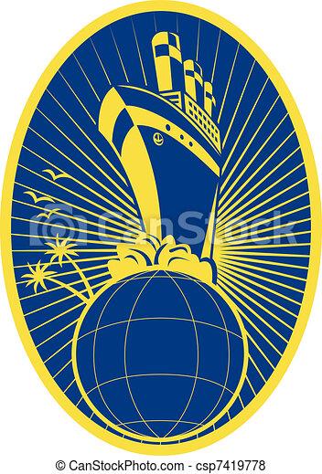 Passenger ship boat Ocean liner globe - csp7419778
