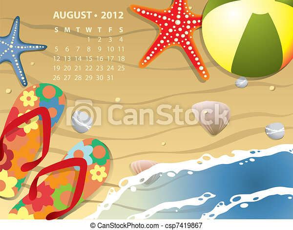 August calendar - Beach with starfush and ball - csp7419867