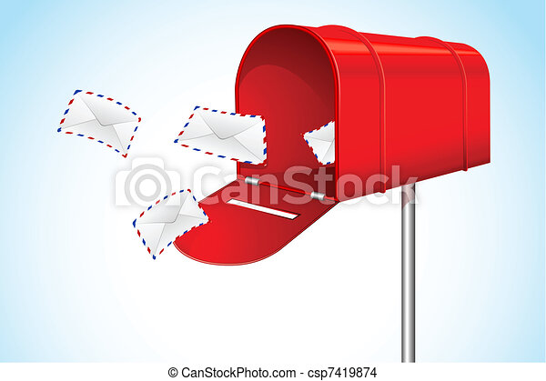 EPS Vector of Mail Box with Envelope - illustration of open letter ...
