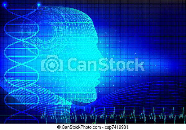 Human Head on Medical Background - csp7419931