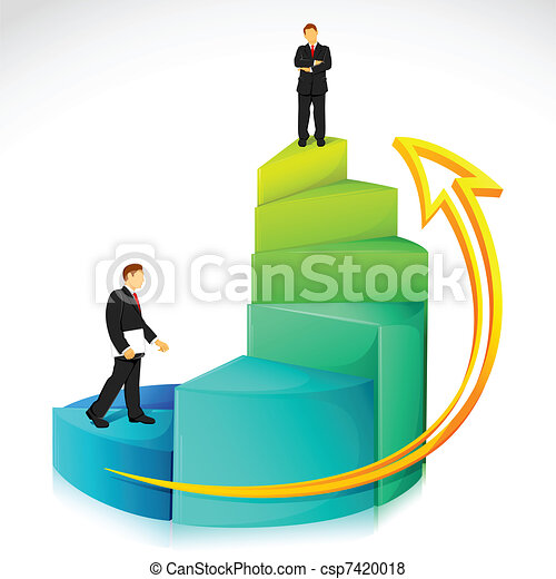 Businessman on Bar Graph - csp7420018