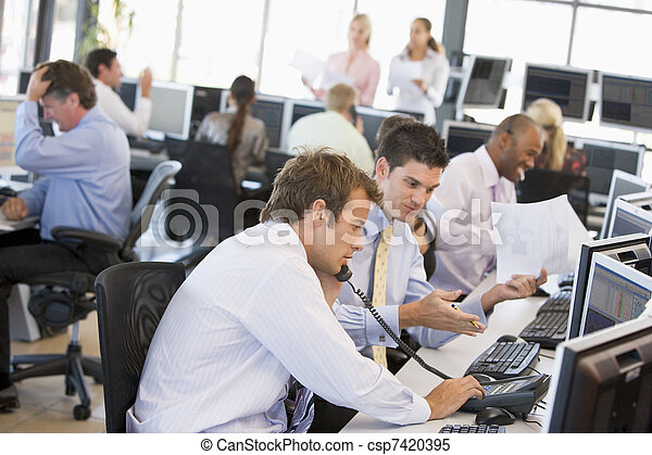 View Of Busy Stock Traders Office - csp7420395