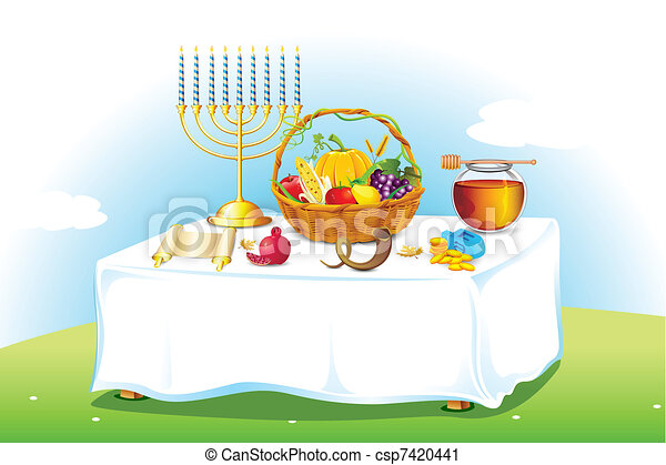 Table decorated for Sukkot - csp7420441