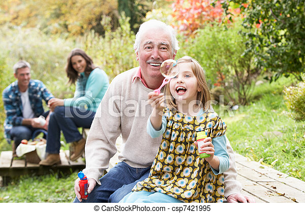 Grandfather And Granddaughter Blowing Bubbles On Family Picnic - csp7421995