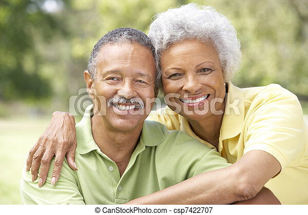 Portrait Of Senior Couple In Park - csp7422707