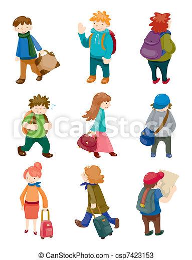 cartoon travel people icons set - csp7423153