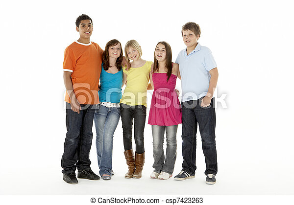 Group Of Five Young Children Jumping In Studio - csp7423263