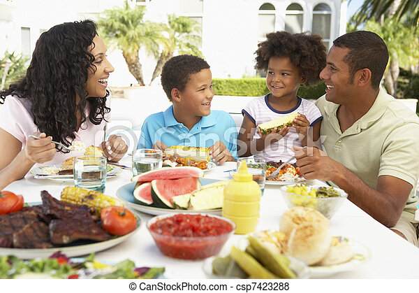 Family Eating An Al Fresco Meal - csp7423288