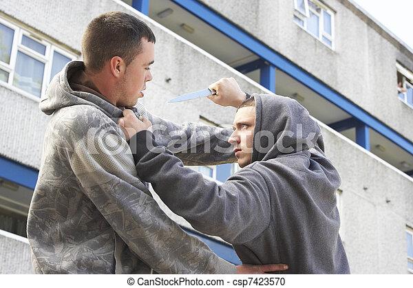 Knife Crime On Urban Street - csp7423570