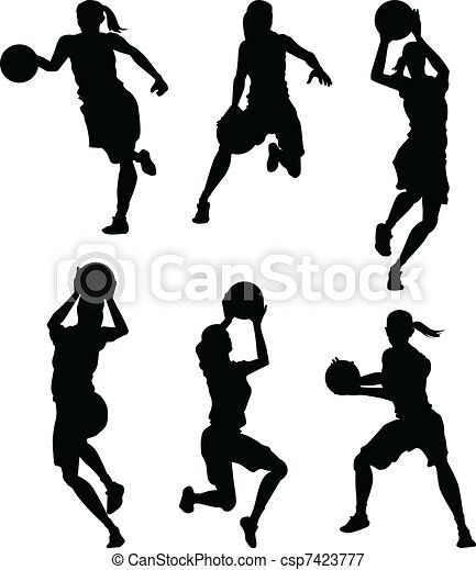 Basketball Female Women Silhouettes - csp7423777