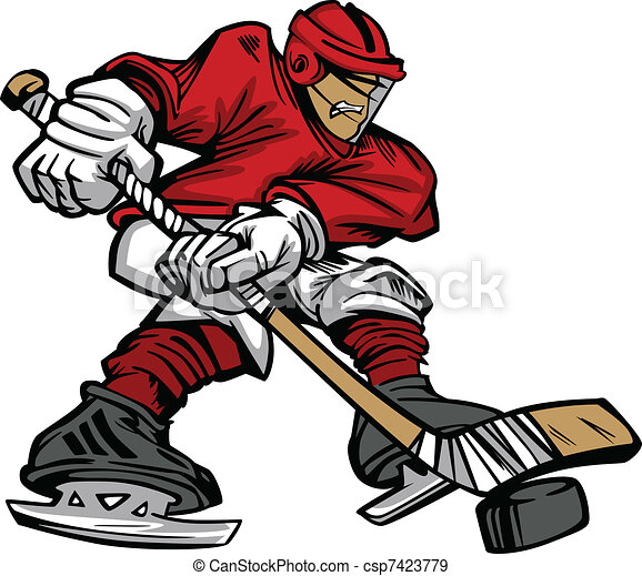 Cartoon Hockey Player Skating Vecto - csp7423779