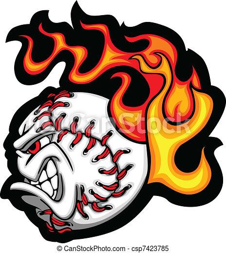 Softball or Baseball Face Flaming V - csp7423785