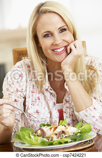 Mid Adult Woman Eating A Healthy Meal, Smiling At The Camera - csp7424221