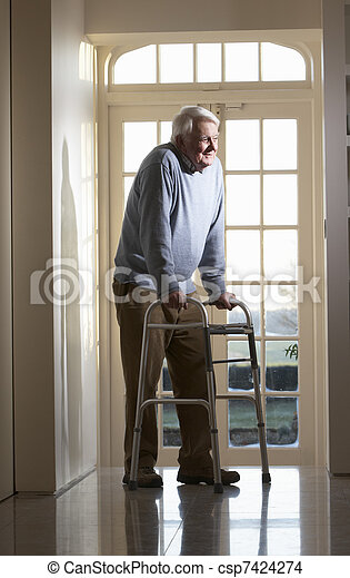Elderly Senior Man Using Walking Frame - csp7424274