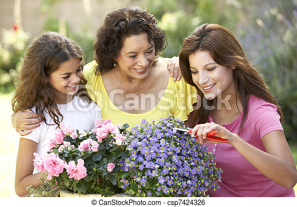Senior Woman With Adult Daughter And Granddaughter Gardening Together - csp7424326