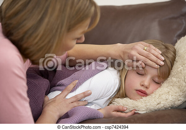 Mother Taking Temperature Of Sick Daughter - csp7424394