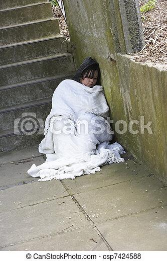 Homeless Girl Sleeping Rough - csp7424588