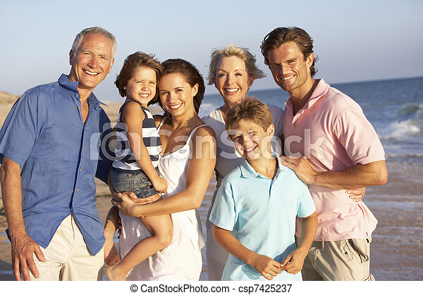 Portrait Of Three Generation Family On Beach Holiday - csp7425237