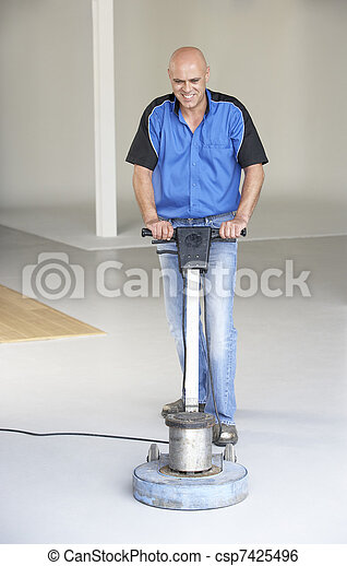 Cleaner polishing office floor - csp7425496
