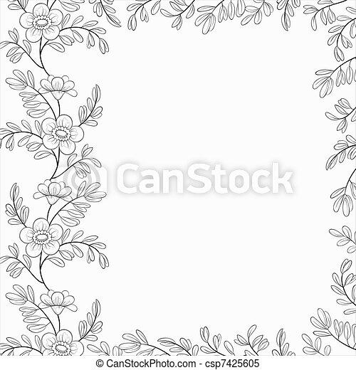 Illustrations de fleurs cadre fond contours floral - Dessin contour ...