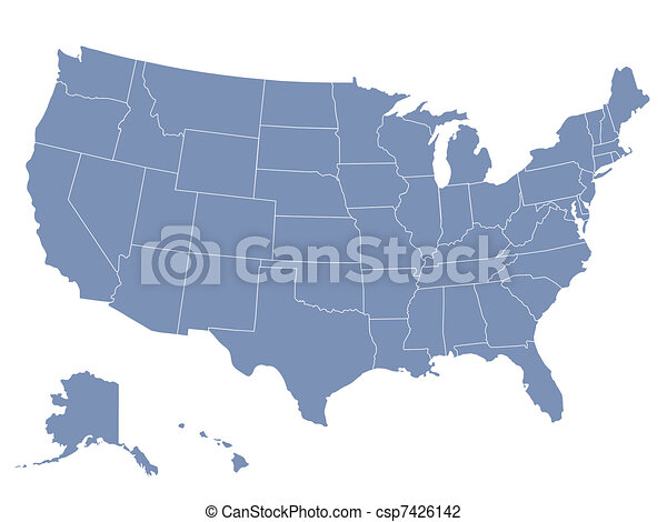 vector map of the united states of america, each state is in seperate layer thus can be edited easily - csp7426142