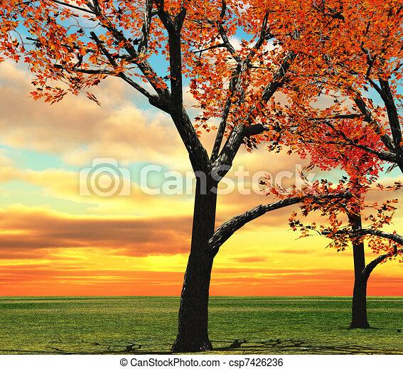 Autumn Landscape Drawing Autumn Landscape Csp7426236