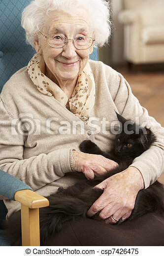 Senior Woman Relaxing In Chair At Home With Pet Cat - csp7426475