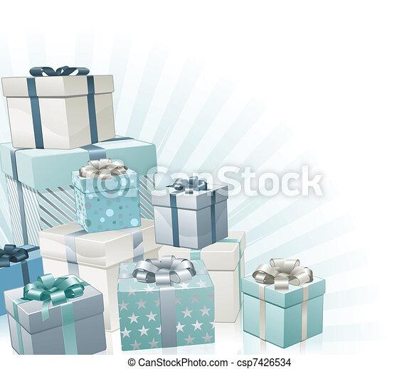 Christmas gifts corner element - csp7426534