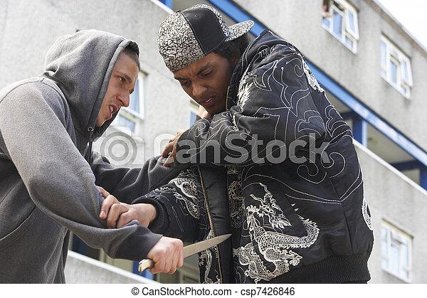 Knife Crime On Urban Street - csp7426846