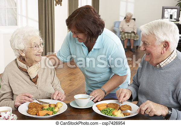 Senior Couple Being Served Meal By Carer - csp7426954