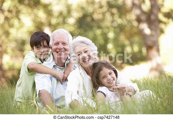 Grandparents In Park With Grandchildren - csp7427148